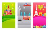 European travel destinations — Stock Vector