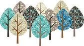 Decorative grunge trees — Stock Vector