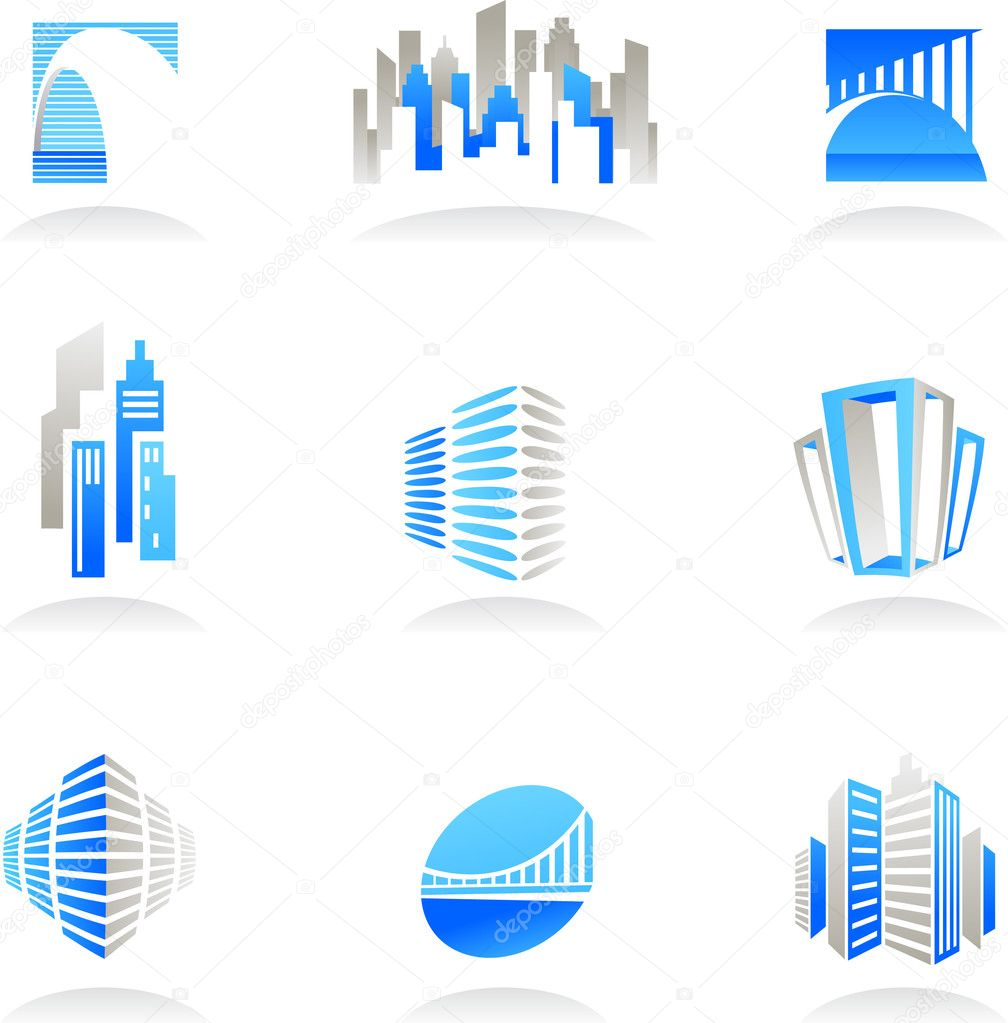 Collection of abstract real estate and construction icons / logos — Stock Vector #3273222