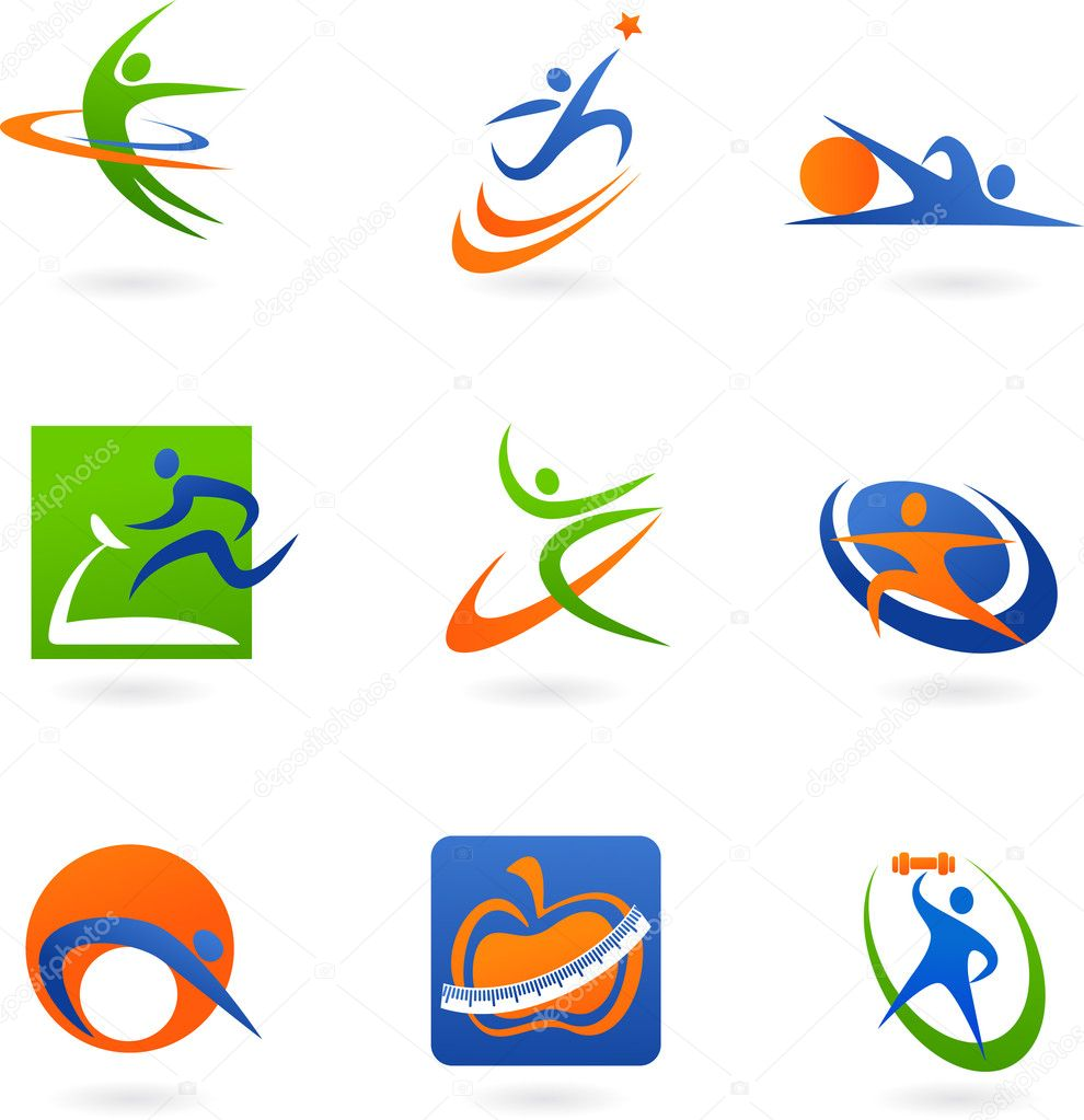 Colorful abstract fitness icons and logos — Stock Vector #3273526