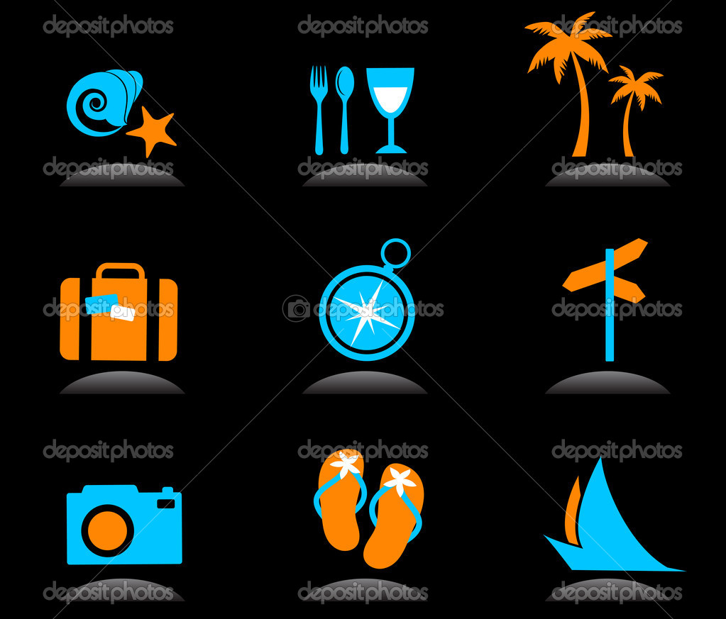 Collection of colourful tourism and vacation icons and logos - 3 — Stock Vector #3311179