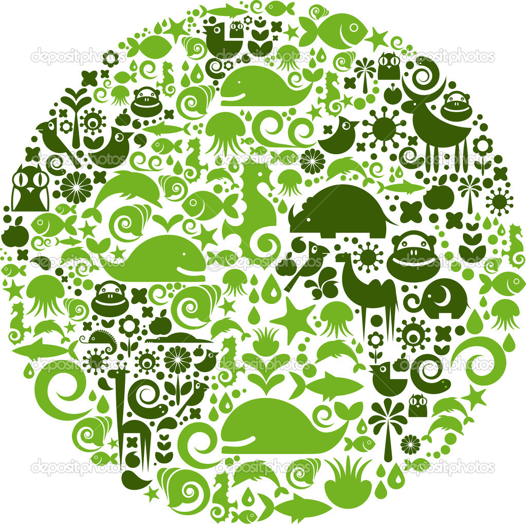 Green globe outline made from birds, animals and flowers icons — Stock Vector #3322419
