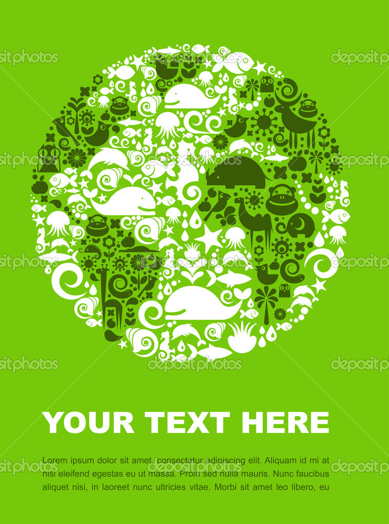 Earth outline made from animal icons on a green background — Stock Vector #3322457