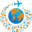 Flying around the world — Imagen vectorial