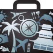 X-rayed tourist suitcase - Stock Vector