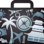 X-rayed tourist suitcase — Stock Vector