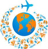 Vliegen over de hele wereld — Stockvector