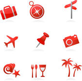 Red tourism icons — Stock Vector