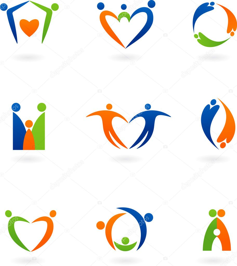 Collections of abstract family icons  Stockvectorbeeld #3446750