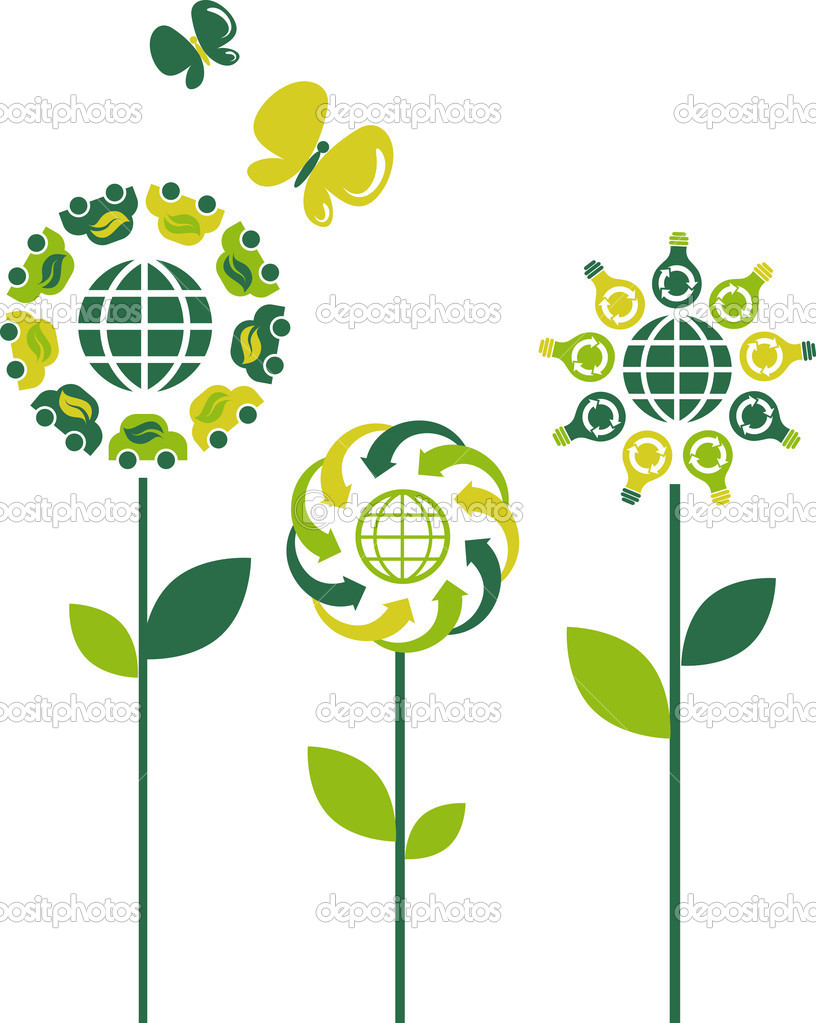 Eco flower symbols - green energy theme — Stock Vector #3517300