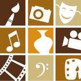 Iconos de las artes creativas — Vector de stock