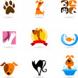 Vector de stock : Pet icons and logos