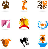 Pet icons and logos — Vector de stock