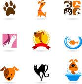 Sällskapsdjur ikoner och logotyper — Stockvektor