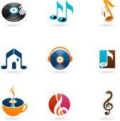 Bunte musik-symbole und logos — Stockvektor