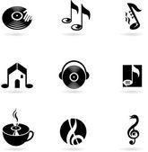 Simple music icons and logos — Stock Vector