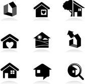 Logotipos e iconos inmobiliaria — Vector de stock