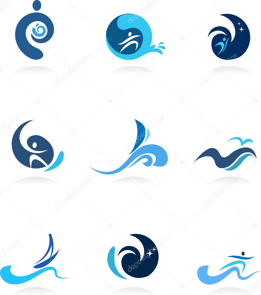 Wave, surf and flow icons and logos  Stock Vector #3709505