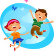 Happy kids jumping — Stock Vector