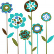 Grunge blue flowers — Stock Vector
