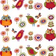 Royalty-Free Stock Vector Image: Flowers and birds - 2