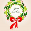 Stock Vector: Christmas wreath card - 2
