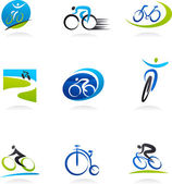 Cycling and bicycles icons — Cтоковый вектор