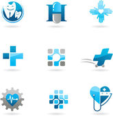 Blue medicine and health-care icons and logos — Stock Vector
