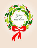 Christmas wreath card - 2 — Stock Vector