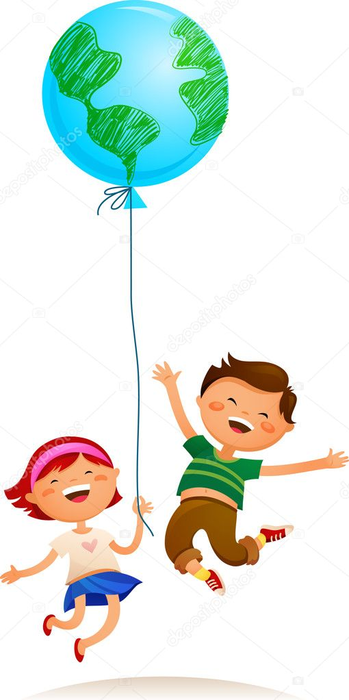 Two kids playing with Earth balloon  Stock Vector #3811168