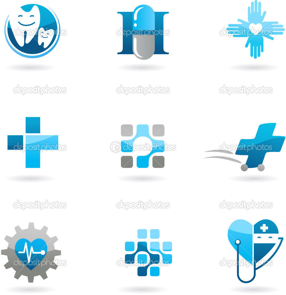 Collection of blue medicine and health-care icons and logos — Stock Vector #3811193