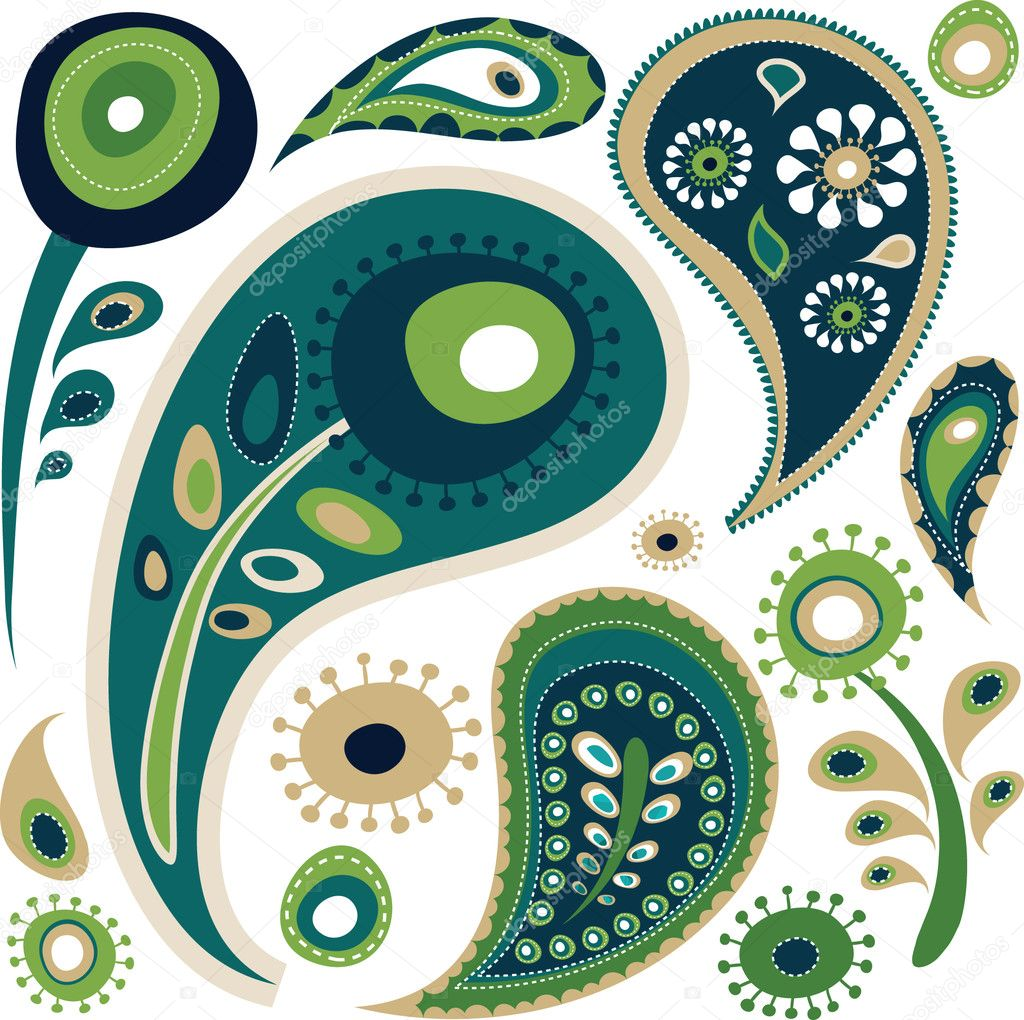 Retro green and blue paisley pattern — Stock Vector #3815908