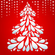 Christmas tree on red background — Stockvectorbeeld