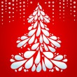 Christmas tree on red background — Imagen vectorial