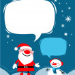 Santa and a snowman - Stock Vector