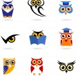 Stok Vektör: Owl icons and logos