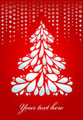 Christmas tree on red background — Stock Vector