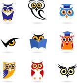 Uggla ikoner och logotyper — Stockvektor