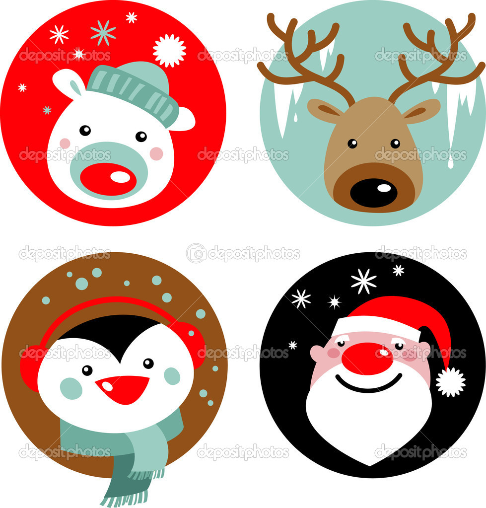 Christmas characters - Santa, reindeer, penguin and polar bear  Stock Vector #3907405