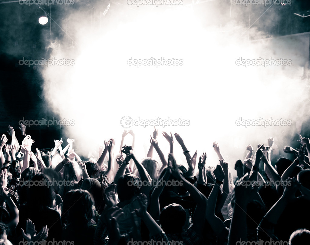 Concert crowd, hands up, toned — Stockfoto #3720977