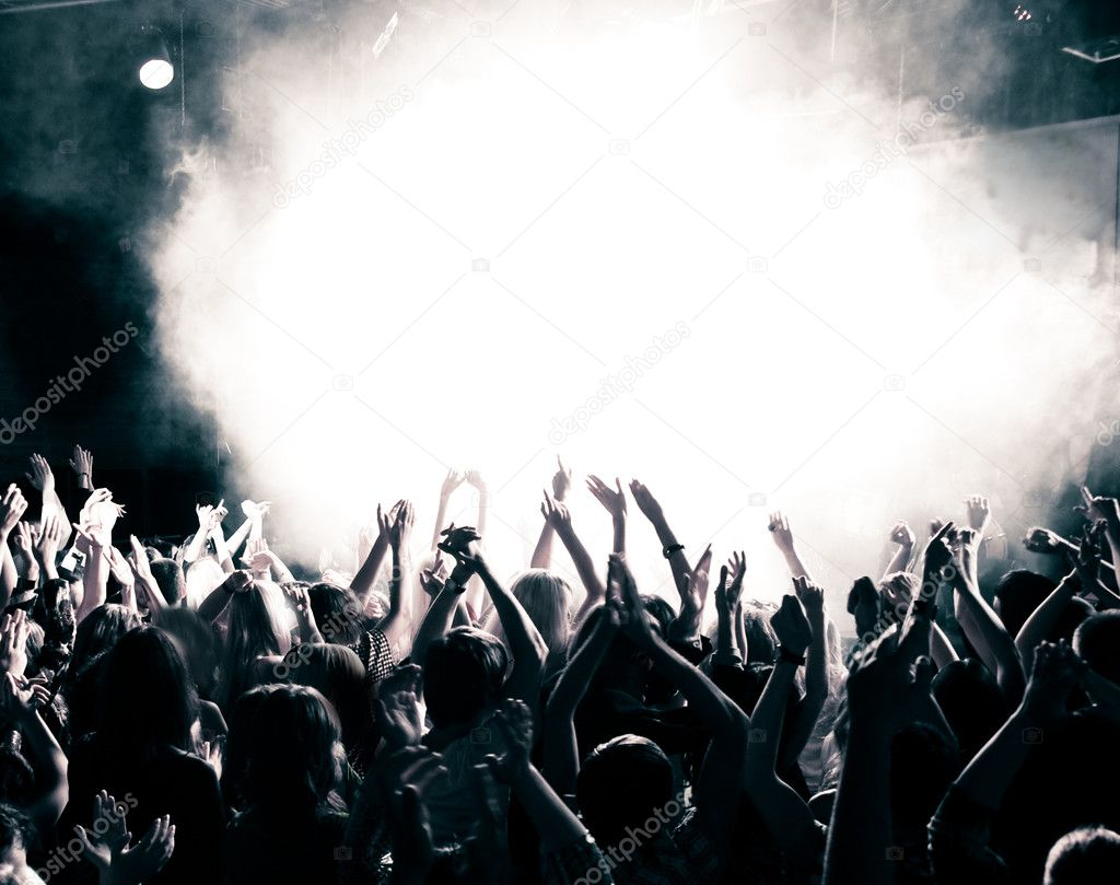 Concert crowd, hands up, toned — Stock Photo #3720977