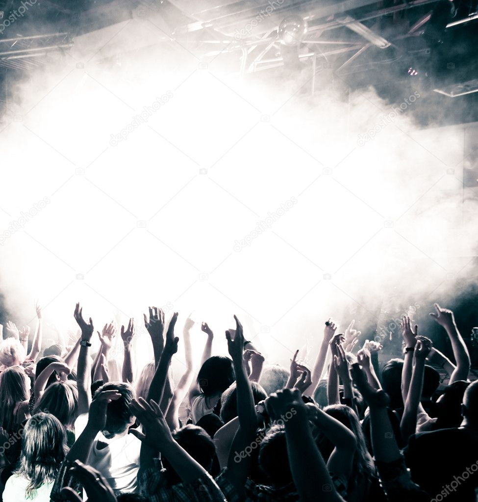 Concert crowd, hands up, toned — Foto Stock #3720999