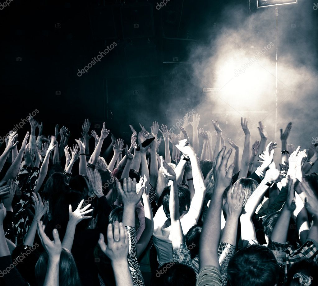 Concert crowd, hands up, toned — Stock Photo #3721007