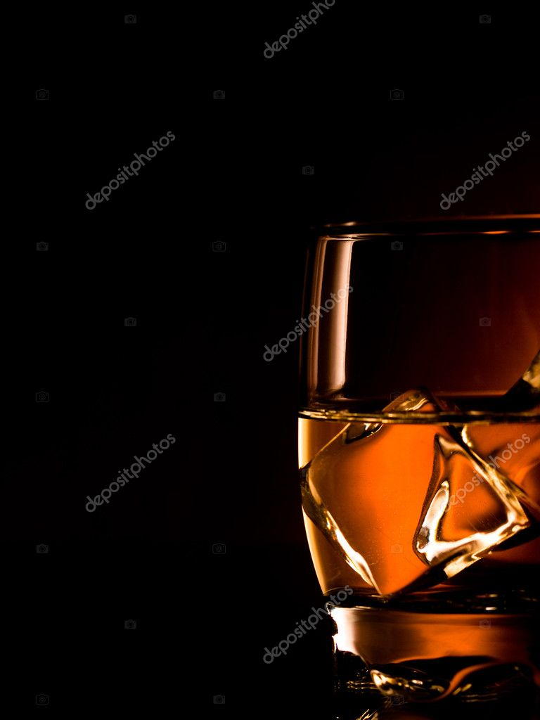 Whiskey on the rocks, one glass — Stock Photo #3830424