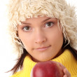 Autumn teen woman with red apple — Stock Photo