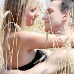 A beautiful couple in wheat field — Stock Photo