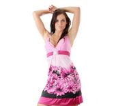 Girl posing in ping dress — Stock Photo
