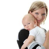 A mother and her tired cute baby boy — Stock Photo