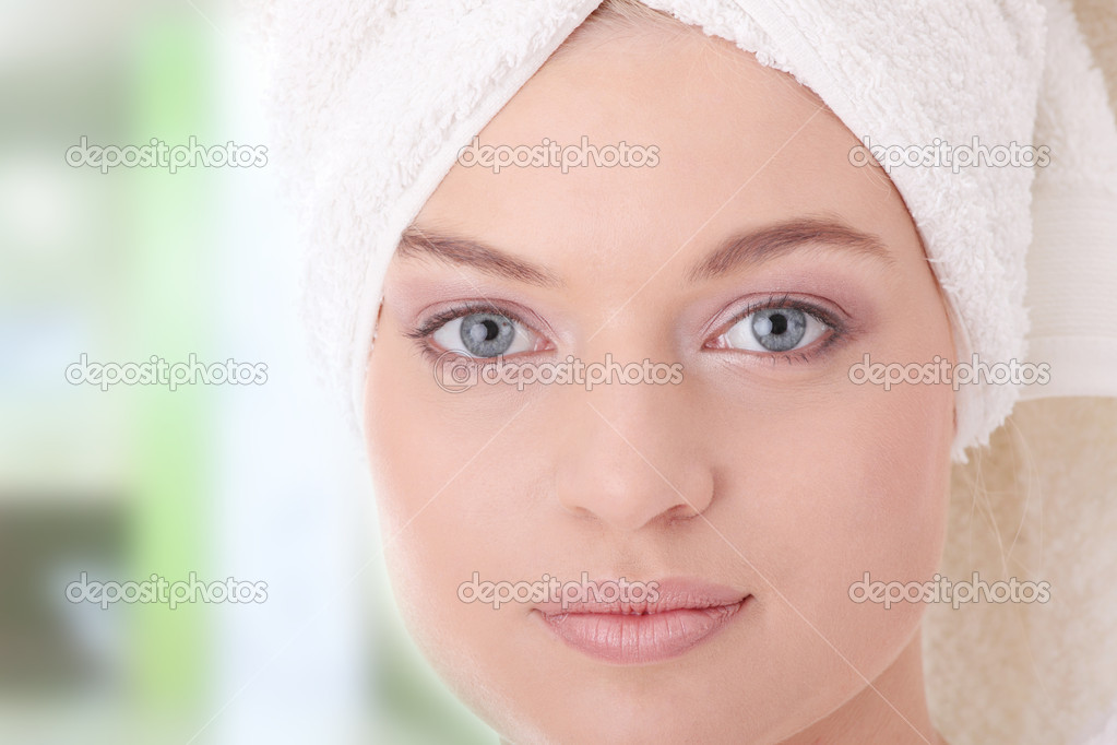 Young beautiful caucasian woman after bath  Stock Photo #3134283