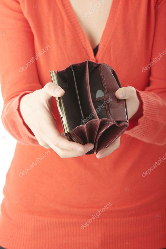 Young woman shows her empty wallet, isolated on white — Stock Photo #3137859